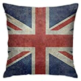 Funda de cojín cuadrada para sofá, dormitorio, decoración del hogar, 45 x 45 cm, bandera nacional del Reino Unido, retro, vintage
