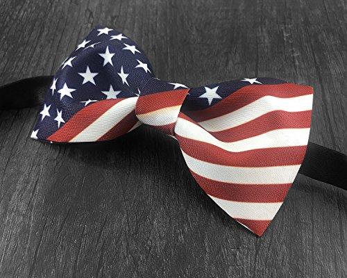 100% Satin Silk Mens Pre-tied Bowtie Stars Stripes American Flag Solid Bow Ties