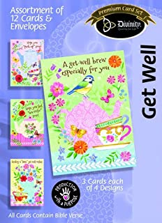 Divinity Boutique 88578 Card - Boxed - Get Well - Tea & Coffee, Box of 12