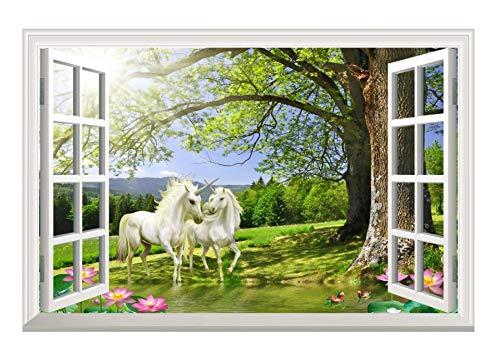 Qjhdg Romantische Einhorn Fenster Wandtattoo Tapete Lotus Pool Wohnzimmer Schlafzimmer Dekoration Aufkleber 50X70 Cm