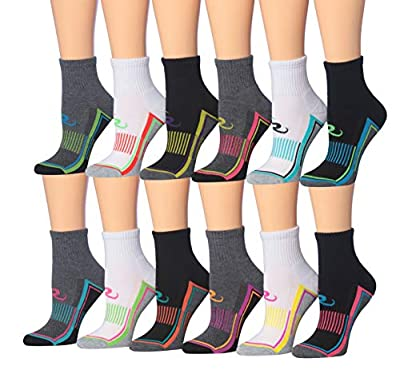 Ronnox Women's 12-Pairs Running & Athletic Sports Performance Ankle/Quarter Socks (RQ11-AB-XS)