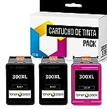 3 TONERPACK® 300 300XL Cartuchos de Tinta Compatible para HP impresoras DeskJet D1660 D2660 F4580 F4240 Envy 100 110 PhotoSmart C4780 C4670 (2 Negro + 1 Tricolor)