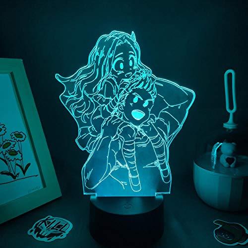 Lámpara de noche LED 3D con diseño de anime Million and Eri My Hero Academia para niños, decoración de habitación de los niños, 7 colores táctiles