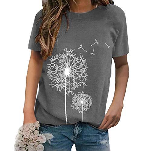 Verano para Mujer Diente de león Camisetas Estampadas con gráficos Manga Corta Cuello Redondo Casual Túnica Suelta Blusa Tops Sueltas para Mujer Camiseta para Uso Diario Correr Ciclismo Gimnasio