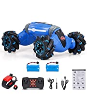 2.4G Gesture Sensing RC Stunt Car Free Twisting Off-Road Vehicle Music Dancing Two Side Driving RC Toy Children Christmas Gift 2 Battery