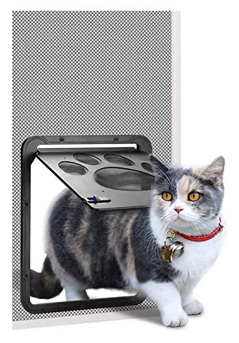 Cat aletea la solapa del gato de la puerta del animal con bloqueo de 2 vías abdominales Y Material de nylon Puerta de solapa a prueba de viento Cat Flip Puerta Cat SplAP Microchip grande Cat Splap Per
