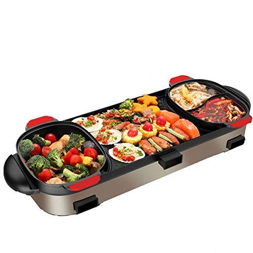 CDZJP Bilaterale kookplaat, multifunctioneel, scheidbaar, barbecue-plug-in voor drie temperaturen van het gezin, anti-aanbak grillplaat