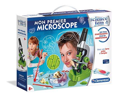 Clementoni 52510 Wissenschaft erstes Mikroskop – wissenschaftliches Spiel – französische Version,, ab 8 Jahren, Mehrfarbig