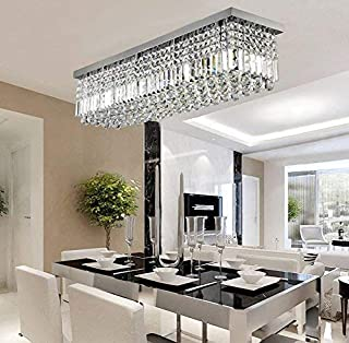 Rectangular Raindrop Crystal Chandelier Lighting Modern Ceiling Lights Flush Mount Fixture L31.5