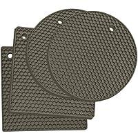kitchenatics tappetini sottopentola in silicone: 4 pezzi di sottopentole multiuso – sottopiatto termico resistente al calore – per aprire barattoli, porta posate, guanti da forno, presine –grigio
