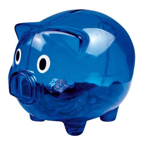 eBuyGB Spardose aus Kunststoff, transparent/Blau