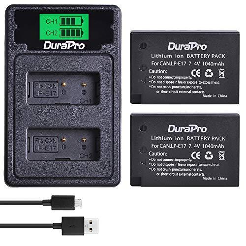 DuraPro 2 batterie LP-E17 per fotocamera + caricatore a LED USB Dual con porta di tipo C per Canon EOS M3 M5 M6 200D 77D 750D 760D 800D Kuss X8i Rebel