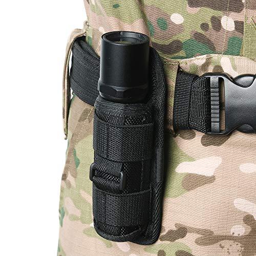 Gexgune Custodia per torcia a LED con custodia a torcia ruotabile a 360 gradi per borse da caccia con copertura a torcia a cintura