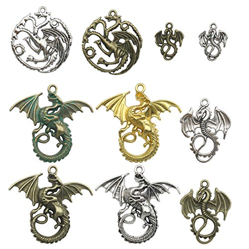 YoudiylaUK 20pcs Mixed Dragon Craft Supplies Beads Charms Pendants for Jewellery Findings Making Accessory for DIY Necklace Bracelet WM015