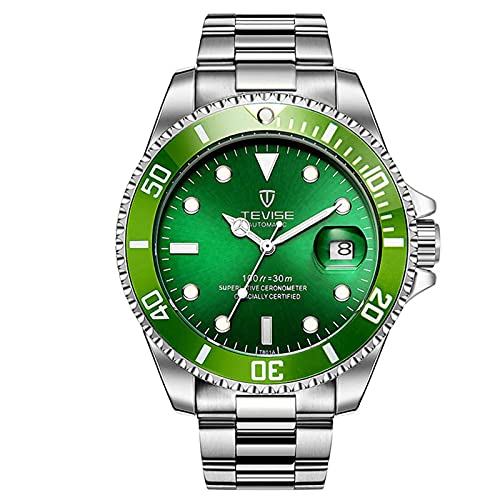 JTTM Reloj para Hombre Moda Automático Analógico De Cuarzo Reloj De Pulsera para Hombre Acero Inoxidable Deportivo Impermeable con Fecha Reloj De Pulsera,White Green