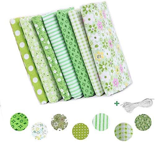 Tela de algodón para coser 50 x 50 cm, 7 piezas, tela floral patchwork material cuadrados con cuerda elástica, hojas de tela con patrón de flores para manualidades y álbumes de recortes, color verde