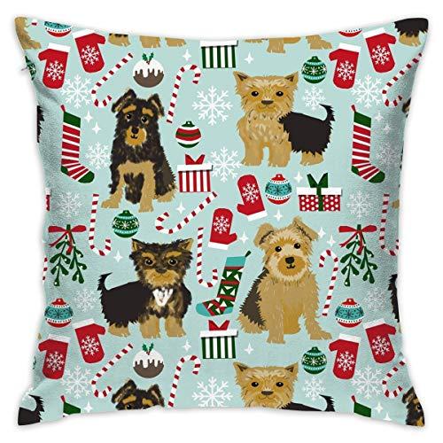 TERPASTRY carré décoratif Housses de Coussin Coton Doux extérieur Neuf Yorkshire de Noël Couvre-lit Taie d'oreiller pour canapé Chambre à Coucher Bureau à Domicile de Voiture