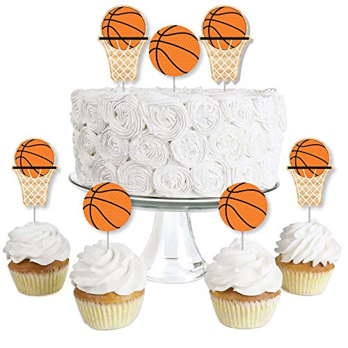 Big Dot of Happiness Nothin' but Net - Basketball - Dessert Cupcake Toppers - Baby Shower or Birthday Party Clear Treat Picks - Set of 24