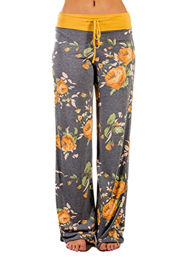 iChunhua Women's Comfy Stretch Floral Print Drawstring Palazzo Wide Leg Lounge Pants(L,Yellow)