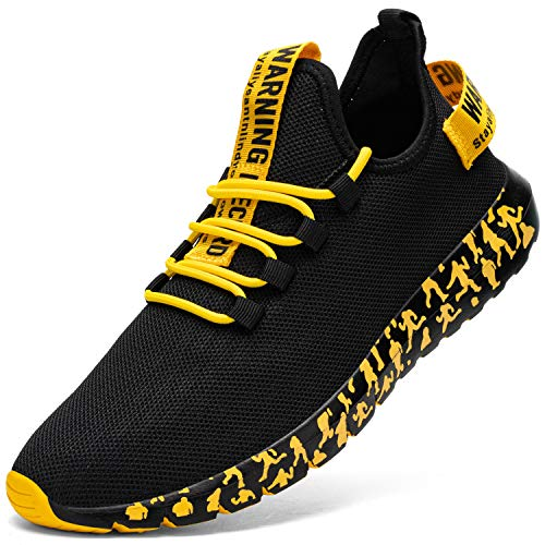 Kefuwu Sneakers Uomo Sport Outdoor Ginnastica Anti-Scivolo Casual Jogging Trekking Tennis Fitness Sportive Respirabile Mesh Scarpe da Corsa(Nero Giallo 42)