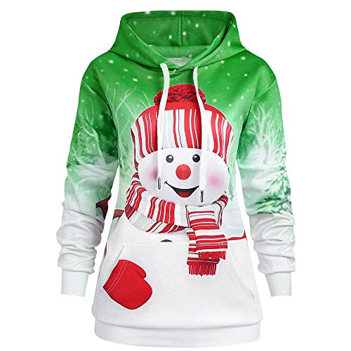 Fenverk Damen Frauen Frohe Weihnachten Schneeflocke Tops Sweatshirt Bluse Drucken Hemd Christmas Kapuzenpullis Hemden Lose Pullover Mantel Sweatshirts Blusen T-Shirt Kapuzenpullover(GrüN 1,L)