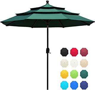 EliteShade Sunbrella 9Ft 3 Tiers Market Umbrella Patio Outdoor Table Umbrella with Ventilation and 5 Years Non-Fading Guarantee,Forest Green