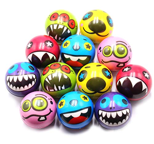 2.5 inch Fun Ghost Face Stress Balls Cute Hand Wrist Stress Reliefs Squeeze Balls for Kids and Adults at School or Office Party Favors (12 Pack)