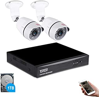 Tonton 4CH Full HD 1080P Expandable Security Camera System, 5-in-1 Surveillance DVR with 1TB Hard Drive and (2) 2.0MP Waterproof Outdoor Indoor Bullet Camera, Free APP Remote Viewing and Email Alert