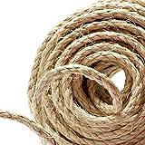 Naler Cuerda de cáñamo 25 m 6 mm, 100% Yute Natural, 4 Capas de Cuerda Gruesa para Barcos, Barras de arañar de Animales, Manualidades, Embalaje de Regalo, jardinería y floristería