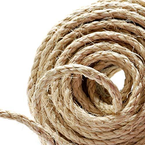 Cuerda de cáñamo Naler de 25 m 6 mm, 100% yute natural, 4 capas de cuerda gruesa para barcos, barras de arañar de animales, manualidades, embalaje de regalo, jardinería y floristería