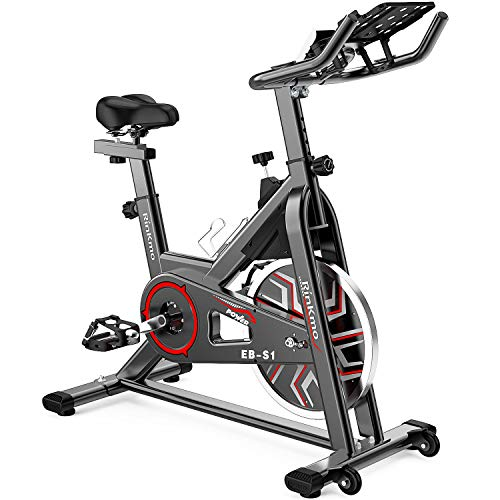 RINKMO Spin Bike, Indoor Cycling Stationary Bike with Pad Mount, 36 LBS Flywheel Workout Bike with Adjustable Resistance, Heart Rate Monitor, Support 330LBS