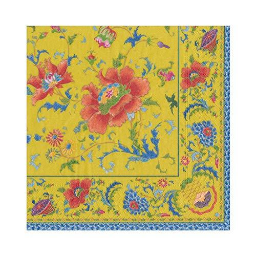 Caspari Chinese Paper Luncheon Napkins Yellow, Package Tovaglioli di Carta Cinese in Ceramica, Colore Giallo Imperiale, 20 Pezzi per Confezione, Oro
