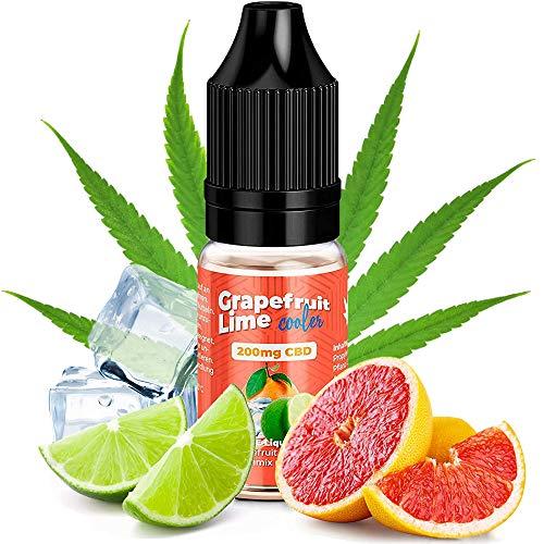 CBD Liquid 100-200-400 mg von KDM Liquids® Geschmack Grapefruit Lime Cooler - 10ml Cannabis E-Liquid ohne Nikotin und THC für E-Zigarette Shake & Vape (Grapefruit Lime Cooler, 200 mg)