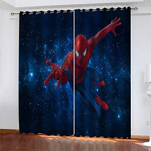 LLWERSJ Cortinas Opacas Spider-Man Estrellado Cortinas Opacas De Térmica Aislante Adecuado Cortina Blackout con Ojales Dormitorio habitación Infantil 2Paneles 2x140x250cm(An x Al)