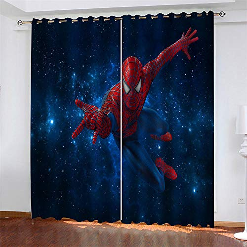 Rideau Occultants Spiderman étoilé bleu Rideau Isolant Thermique Rideau à Oeillet Moderne Microfibre Super Soft pour Chambre Salon Home Decorative 2X L70 x H160 cm