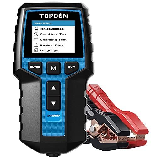 Testeur de Batterie AUTO 12V 24V, TOPDON BT200 100-2000 CCA Testeur d'alternateur automobile Analyseur de batterie numérique pour Voiture/Camion/ Moto/ ATV/ SUV/ Bateau/Yacht