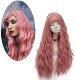 Pelucas Rosa para Mujer, FiveFour Pelucas Sintéticas con Flequillo, Peluca Larga Rizada Natural con Casquillo para Mujer Chica Cosplay, 70 cm