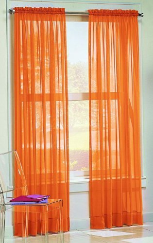 "Dreamkingdom - Solid Orange Sheer Curtains/Drape/Panels/Treatment 58""x84"" (Pack of 2)"