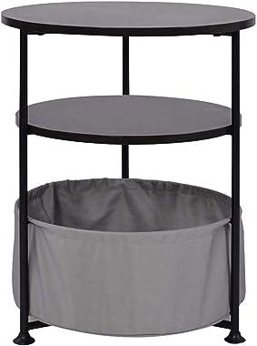 Gentalid Tables d' extrémité Ronde Table de Chevet, Table d' appoint avec Panier en Tissu, Table d' accompagnemen