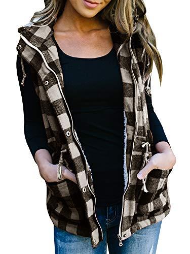 chimikeey Womens Buffalo Plaid Hoodies Vest Winter Corduroy Flannel Jacket Sleeveless Casual Cardigan Black