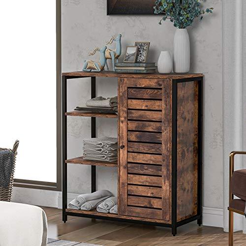 VSTAR66 Sideboard, Seitenschrank, Küchenschrank, Lagerschrank mit 3 offenen Ablagen, Industriedesign, Stahlrahmen, Vintage Braun + Schwarz, 70 x 30 x 80cm