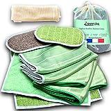 Paños de bambú Premium 6 microfibra – Lavables, toallitas y esponjas lavables – Limpiar, ardar y abrillantar para ventanas, espejos, vajilla, carrocería, cerámica, pantalla gafas