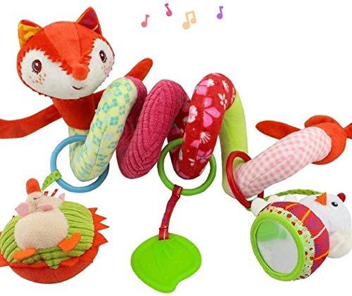 Espiral de actividad con juguetes para colgar en el cochecito, el cochecito o la cuna de bebé, diseño de zorro