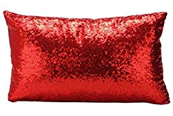 Red Multi-Size Sequin Throw Pillow Cover Sham Case