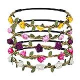 Shintop 10 Stück Haarband Blumen, Mehrfarbig Floral Blume Stirnband Blumenkranz für Mädchen...