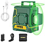 2 x 360 ° POPOMAN Green Laser Level, 2D Laser Line 45m, Interior Decoration, USB Charging and Lithium Battery, Self-leveling, Pulse Mode, Magnetic Support, 360 ° Swivel, IP54, Bag- MTM340B