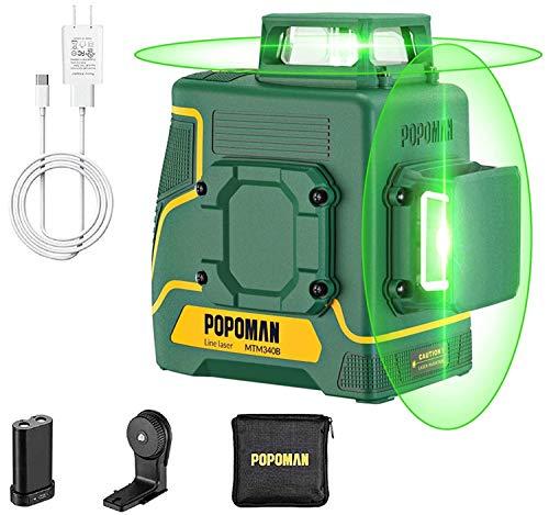 Nivel láser verde 45m POPOMAN,Nivelador Láser Cruzado,2x360° Horizontal y Vertical,Líneas Cruzadas,Batería de Litio Recargable USB,Autonivelación,Modo de Pulso,de IP54 con Soporte Magnético,MTM340B