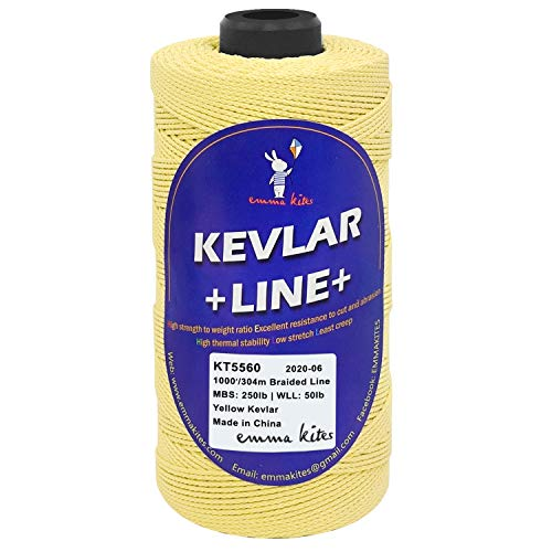 emma kites Kevlar Line Cord for Kite Flying Outdoor Living Tactical Camping (Braid, 1000ft 250lb)