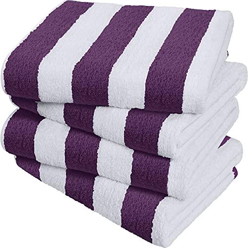 Utopia Towels - Toallas de Playa a Rayas Cabana, Ciruela, (76 x 152 cm) - Toallas de Piscina Grandes de algodón 100% Hilado en Anillos, Suaves y de Secado rápido (Paquete de 4)