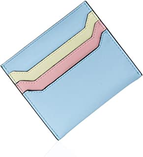【mon luxe】 レディース コンパクト カード入れ 薄型 5mm マカロンカラー インナーカードケース スキミング防止 かわいい ミニ財布 スリム 牛革 レザー